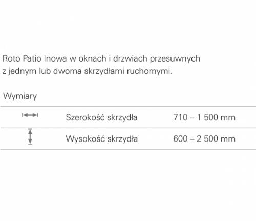 Wymiary Roto Patio Inowa